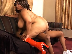 Black BBW pumping her fat booty with cock