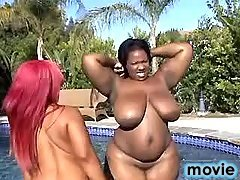 Fat black sluts have fun in pool